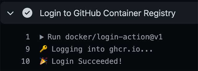 GitHub Actions 로그에 출력된 Login Succeeded
